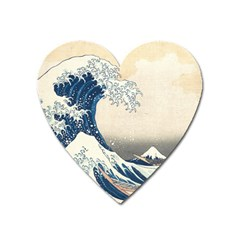 The Classic Japanese Great Wave Off Kanagawa By Hokusai Heart Magnet by PodArtist