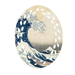 The Classic Japanese Great Wave Off Kanagawa By Hokusai Oval Filigree Ornament (two Sides) by PodArtist