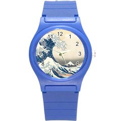 The Classic Japanese Great Wave Off Kanagawa By Hokusai Round Plastic Sport Watch (s) by PodArtist