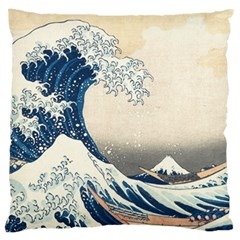 The Classic Japanese Great Wave Off Kanagawa By Hokusai Large Cushion Case (two Sides) by PodArtist