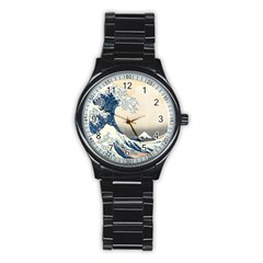 The Classic Japanese Great Wave Off Kanagawa By Hokusai Stainless Steel Round Watch by PodArtist