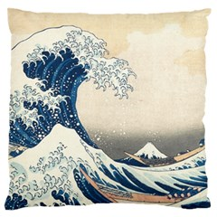 The Classic Japanese Great Wave Off Kanagawa By Hokusai Large Flano Cushion Case (two Sides) by PodArtist