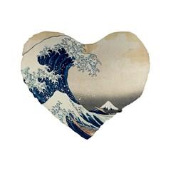 The Classic Japanese Great Wave Off Kanagawa By Hokusai Standard 16  Premium Flano Heart Shape Cushions by PodArtist