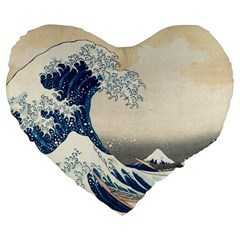 The Classic Japanese Great Wave Off Kanagawa By Hokusai Large 19  Premium Flano Heart Shape Cushions by PodArtist