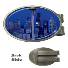 Space Needle Seattle Washington Money Clips (oval)  by Nexatart