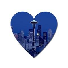 Space Needle Seattle Washington Heart Magnet by Nexatart