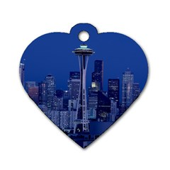 Space Needle Seattle Washington Dog Tag Heart (two Sides)