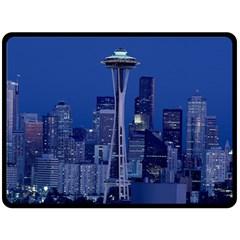 Space Needle Seattle Washington Fleece Blanket (large)  by Nexatart