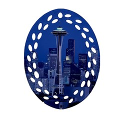 Space Needle Seattle Washington Oval Filigree Ornament (two Sides) by Nexatart