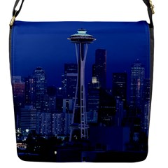 Space Needle Seattle Washington Flap Messenger Bag (s) by Nexatart