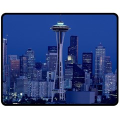Space Needle Seattle Washington Double Sided Fleece Blanket (medium)