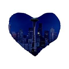 Space Needle Seattle Washington Standard 16  Premium Flano Heart Shape Cushions by Nexatart