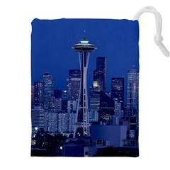 Space Needle Seattle Washington Drawstring Pouches (xxl) by Nexatart