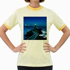 Plouzane France Lighthouse Landmark Women s Fitted Ringer T Shirts