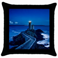 Plouzane France Lighthouse Landmark Throw Pillow Case (black) by Nexatart