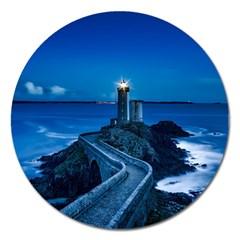 Plouzane France Lighthouse Landmark Magnet 5  (round) by Nexatart