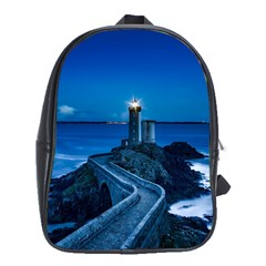 Plouzane France Lighthouse Landmark School Bag (xl) by Nexatart