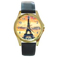 Eiffel Tower Paris France Landmark Round Gold Metal Watch