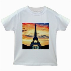 Eiffel Tower Paris France Landmark Kids White T Shirts by Nexatart