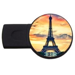 Eiffel Tower Paris France Landmark Usb Flash Drive Round (2 Gb) by Nexatart