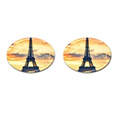 Eiffel Tower Paris France Landmark Cufflinks (oval)
