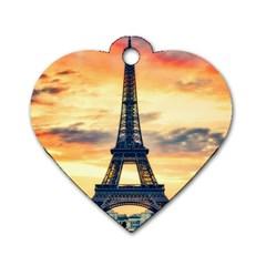 Eiffel Tower Paris France Landmark Dog Tag Heart (two Sides)