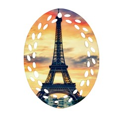Eiffel Tower Paris France Landmark Oval Filigree Ornament (two Sides) by Nexatart