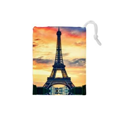Eiffel Tower Paris France Landmark Drawstring Pouches (small)  by Nexatart