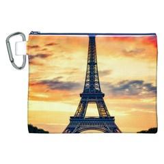 Eiffel Tower Paris France Landmark Canvas Cosmetic Bag (xxl) by Nexatart
