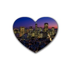 San Francisco California City Urban Rubber Coaster (heart)  by Nexatart