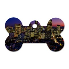 San Francisco California City Urban Dog Tag Bone (two Sides) by Nexatart