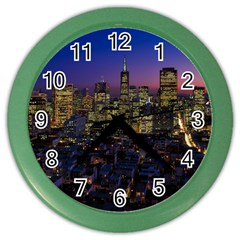 San Francisco California City Urban Color Wall Clocks