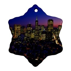 San Francisco California City Urban Snowflake Ornament (two Sides)