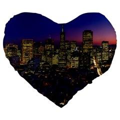 San Francisco California City Urban Large 19  Premium Flano Heart Shape Cushions
