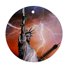 Statue Of Liberty New York Round Ornament (two Sides)