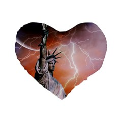Statue Of Liberty New York Standard 16  Premium Flano Heart Shape Cushions by Nexatart