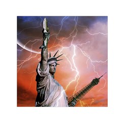 Statue Of Liberty New York Small Satin Scarf (square)