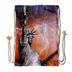 Statue Of Liberty New York Drawstring Bag (large)