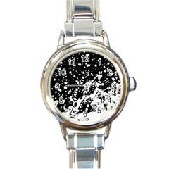 Black And White Splash Texture Round Italian Charm Watch by dflcprints