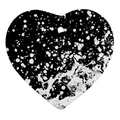 Black And White Splash Texture Ornament (heart) by dflcprints