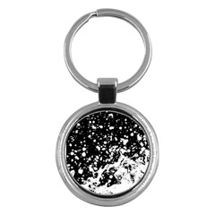 Black And White Splash Texture Key Chains (round)  by dflcprints