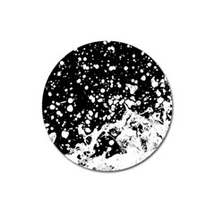Black And White Splash Texture Magnet 3  (round) by dflcprints