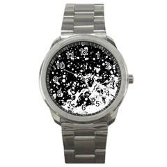 Black And White Splash Texture Sport Metal Watch by dflcprints