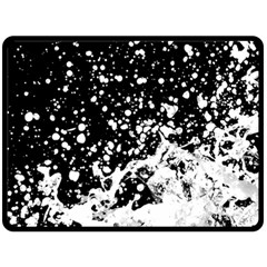 Black And White Splash Texture Fleece Blanket (large)  by dflcprints