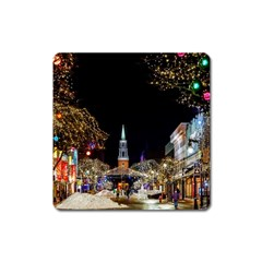 Church Decoration Night Square Magnet by Nexatart