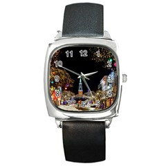Church Decoration Night Square Metal Watch