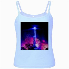 Paris France Eiffel Tower Landmark Baby Blue Spaghetti Tank