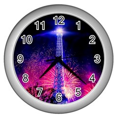 Paris France Eiffel Tower Landmark Wall Clocks (silver)