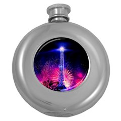 Paris France Eiffel Tower Landmark Round Hip Flask (5 Oz) by Nexatart