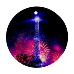 Paris France Eiffel Tower Landmark Round Ornament (two Sides)